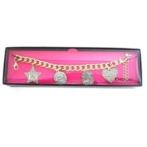 Bebe Gold Tone Chain Charm Bracelet NWT